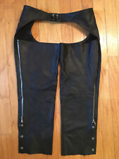 BLACK LEATHER MOTORCYCLE CHAPS PANTS MEN'S SIZE LARGE NICE CONDITION!