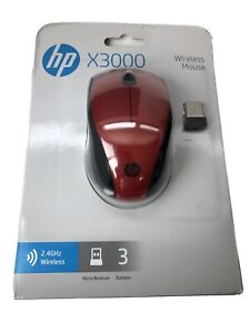 HP X3000 Red Wireless Mouse New In Package (Model #K5D26AA#ABA)