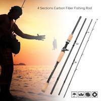4 Sections Medium Baitcasting Spinning Fishing Rod Medium Fishing Pole Bass U9B3