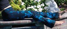 Black & Turquoise Tie Dye Yoga Pants Cotton/Span Hand Dyed USA All Sizes XXS-6XL