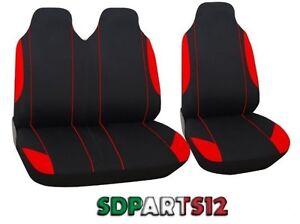 Coprisedili 2+1 Nero Rosso Tessuto Per Fiat Scudo Ducato Nuovo