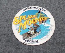 "RARE DISNEYLAND SPLASH MOUNTAIN COMING JANUARY 1989 PIN BACK BUTTON 3"""