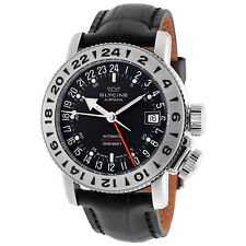 Glycine 3918.19.LBK9 Men's Airman 18 GMT Automatic 39mm Black Dial Watch