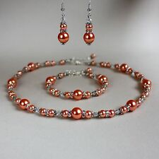 Coral orange vintage pearl collar necklace bracelet earrings wedding bridal set