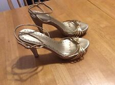 BCBGirls Gold LEATHER Linen Strappy SHOES Platform Sandals Ankle strap 8 8.5 9