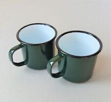 2 x Falcon Traditional Green Enamel Mug Half Pint Camping Mugs Cup