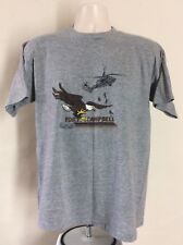 Vtg 80s Fort Campbell T-Shirt Heather Gray L US Army Airborne Rayon Tri Blend