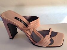 Simo Jourdan Mules-Solid Pink Leather-Size 7.5 M-High Heel