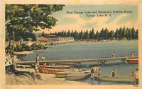 Amsterdam Boats 1940s CAROGA LAKE NEW YORK Sherman's Bathing Beach 4345