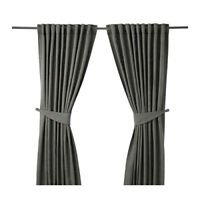 IKEA BLEKVIVA 2 Gardinen + Raffhalter grau (145x300cm) Vorhang Vorhänge Gardinen