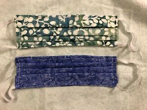 2 PACK HANDMADE CLOTH FACE MASK - purple/ teal batiks