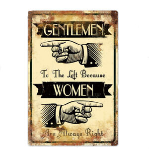 "Gentlemen and Women Funny Metal Sign 8"" x 12"" Vintage Aluminum Tin Sign Bathroom"