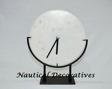 Antique White Marble Desk Clock for Restauration/Office/Home