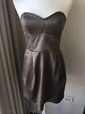 WAYNE COOPER Sz 12(4) Brown Satin Mini Cocktail Dress Strapless NWT RRP $295