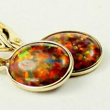 14k Gold Earrings Leverback, Created Red Brown Opal, E101