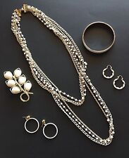 Vintage White Costume Jewelry Lot Necklace Emmons Brooch Monet Bangle Earrings