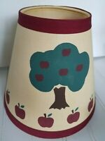 """VTG 7""""Fabric Lamp Shade Apple Tree Red Trim Primitive Country Farm House 1980s"""