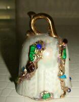 """Vintage Antique Porcelain Bell with Gemstones & Gold Trim Marked Ruby Morris 3"""""""