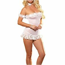 Vintage classic ladies White hot nightwear lingerie chemise bedroom fun 8-10