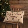 New Rustic Farmhouse Primitive COUNTRY CHRISTMAS Homespun Star Burlap Pillow