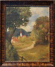Anton Ruzicka - Lautenschläger, Landschaft mit Dorf, Öl auf Karton, gerahmt