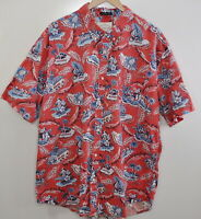 NEW Red Wahine Playing Ukulele Sunset Men Hawaiian Aloha Shirt ~ MADE IN HAWAII