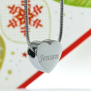 Personalised photo engraved Necklace with small Heart charm pendant