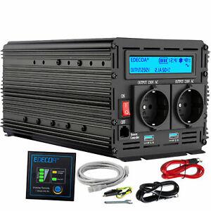 EDECOA Spannungswandler REINER SINUS 12V 230V 1500W 3000W Wechselrichter RV LCD