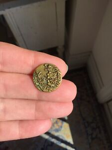 Antique Stamped Brass Button Floral Vines Victorian