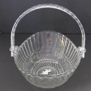 Vintage Glass Basket/Bowl With Plastic Movable Handle (NWOB)