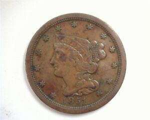 1851 BRAIDED HAIR HALF CENT EXTREMELY FINE *
