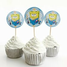 12x SpongeBob SquarePants Food Toppers. Party Supplies Lolly Loot Bag Bunting