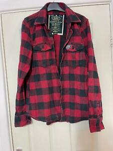 Superdry Red Black Casual Shirt Size Large Check Mens Long Sleeve (H732)