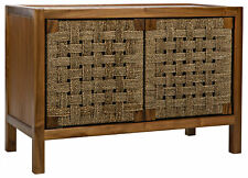 "44"" W Tarin Sideboard Natural Teak Wood with Woven Seagrass Doors Single Shelf"