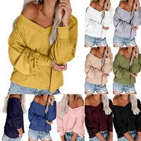 Women Off-Shoulder Sweater Long Sleeve Knitted Jumper Pullover Knitwear Blouse