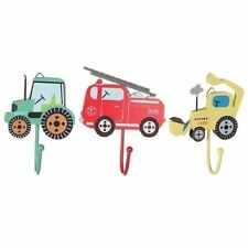 Children's Set of 3 Boys Vehicle Coat Hooks Bedroom Tractor Fire Engine Digger