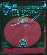 """RED LINETTE 72"""" ROUND TABLECOVER TISSUE/PLASTIC NEW!!"""