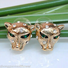 Navachi 18K GP Cheetah Leopard Head Enamel Clear Crystal Earrings Ear Stud B1014