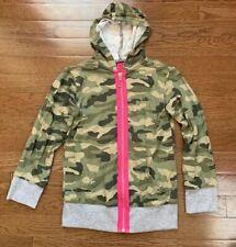Flowers by Zoe girl's full zip hoodie size S (6-7) green camo w/pink & gray EUC