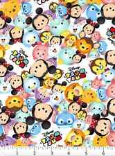 """Disney Tsum Tsum Packed Characters Logo White 100% cotton 43"""" Fabric by the BOLT"""
