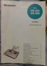 Sharp Model Ux-255 Ux-265 Facsimile Fax Machine Operation Manual