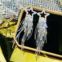 Luxury 925 Sliver Crystal Tassel Star Earrings Stud Drop Dangle Women Jewelry