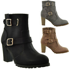 Women's Ankle Boots High Heels  Rugged Booties Lug Out Soles Double Buckle Strap