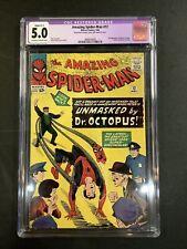 CGC RESTORED GRADE 5.0 AMAZING SPIDER-MAN #12 COMIC BOOK LOT 1964 DOCTOR OCTOPUS