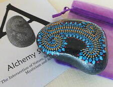 Hand Painted Alchemy Stone with Blue, Gold & Red Geometric Garland Design