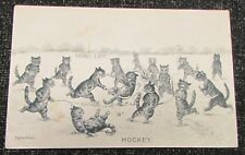 1910 Louis Wain Cat Humour Postcard - Hockey Playing Cats