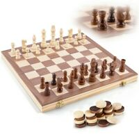 """Ondekt Wooden Chess Set, Handcrafted, 15"""" Foldable Board, Bonus Checkers Pieces"""