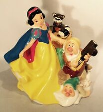 "Vtg Disney Treasure Craft Snow White Dwarfs 10"" Tall Tea Pot Cookie Jar Canister"