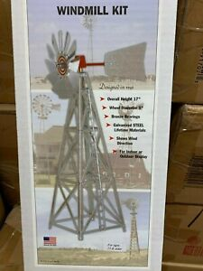 """G Scale 17"""" All Metal Outdoor Windmill Easy to Assemble Kit Galvanized LGB Size"""