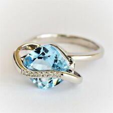 NATURAL BLUE TOPAZ RING VS DIAMONDS 14K WHITE GOLD SIZE P VALUATION $2000 NEW